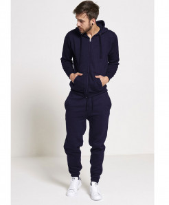 Navy Blue Plain Fleece Tracksuit SPK-004