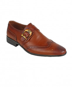 Brown Leather Brogue Formal Shoes LC-5562