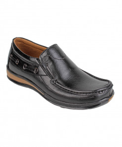 Black Leather Slip On Digger Shoes LC-674