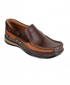 Brown Leather Slip On Digger Shoes LC-687