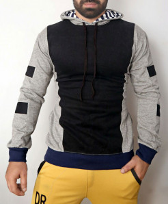 Black Heather Grey Pull Over Hoodie ABSG-006