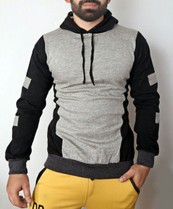 Heather Grey Black Pull Over Hoodie ABSG-007