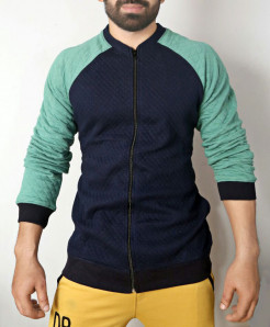 Navy Blue Sea Green Fleece Bomber Jacket ABSG-011