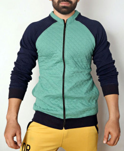 Sea Green Navy Blue Fleece Bomber Jacket ABSG-012