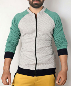 Heather Grey Sea Green Fleece Bomber Jacket ABSG-014