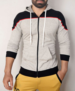 Heather Grey Black Zipper Hoodie ABSG-021