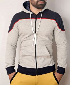 Heather Grey Blue Zipper Hoodie ABSG-023