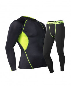 Black Green Men Long Johns Winter Thermal Underwear Sets