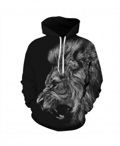 Mr.1991INC 3d Print Black Ferocious Lion Hoodie AT-849