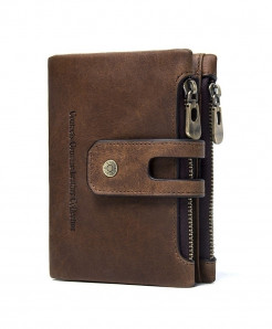 CONTACTS Brown Leather Zipper Wallet AT-939