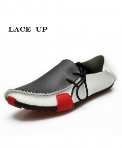 PINSV Leather Stylish Lace Up Loafers