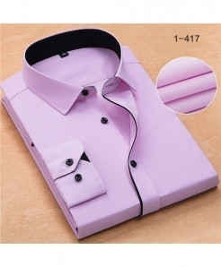 Pink Turn Down Collar Twill Business Formal Shirt