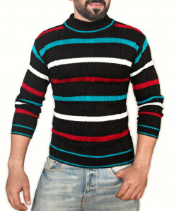Multicolor Mock Neck Sweater SPK-018
