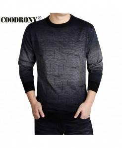 COODRONY Gray Contrast Print Wool Pullover Sweater