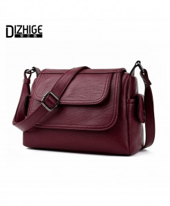 Burgundy Single Shoulder Bags Ladies PU Leather Bags Women Handbags New Sac Femme