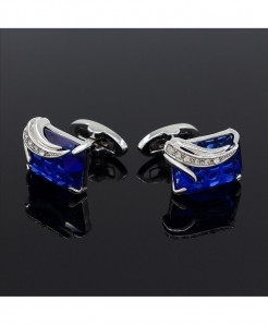 Austria Blue Crystal Design Cuff Links