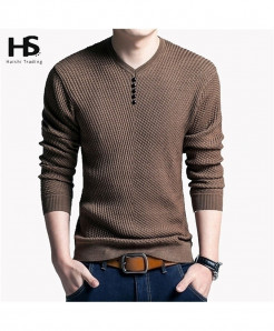 Khaki Pullover Men V Neck Wool Sweater