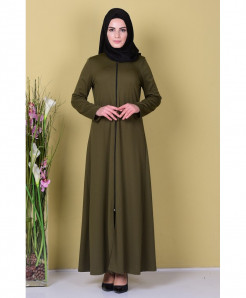 Olive Green Front Zipper Style Ladies Abaya FLK-360