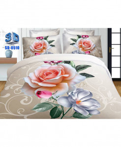 3D Creamy Peach Floral Stylish Cotton Bedsheet SD-0510