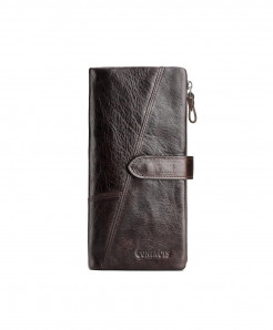 CONTACTS Choco Brown Crazy Leather Long Wallet