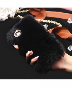 KISSCASE Rabbit Fur Hair Diamond Back Cover Black