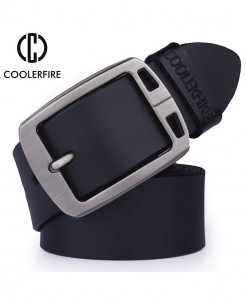 Black Pin Buckle Designer Leather Belt