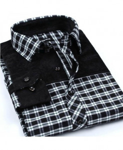 Black Patchwork Plaid Brushed Flannel Slim Fit Shirt