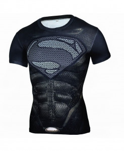 Superman Superhero Fitness Black T-Shirt