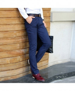 Blue Slim Fit Straight Dress Suit Pant