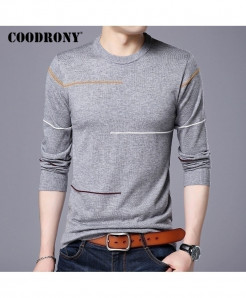 COODRONY Grey Cashmere Wool Slim Warm Sweater