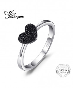 JewelryPalace 0.14ct Black Spinel Love Heart Ring