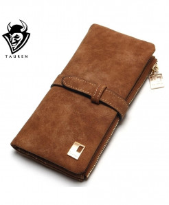 Brown Drawstring Leather Zipper Wallet