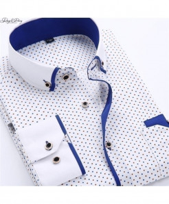 DAVYDAISY White Blue Turn-Down Collar Polka Dot Shirt