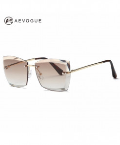AEVOGUE Square Rimless Diamond Cutting Lens Designer Sunglasses
