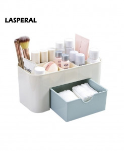 LASPERAL Plastic Cosmetic Storage Box With Small Drawer