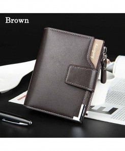 Baellerry Brown Leather Short Purse Wallet