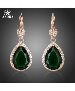 AZORA Noble Rose Golden Dark Green Crystal Surround Earrings