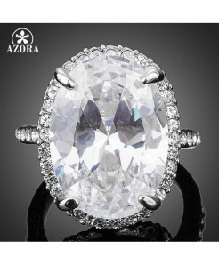 AZORA Big Clear Cubic Zirconia Egg Shaped Ring