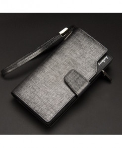 Baellerry Grey Men Long Clutch Wallet