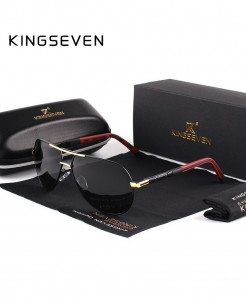 KINGSEVEN Gold Black Aluminum HD Polarized Sunglasses