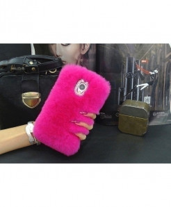 LANCASE Rabbit Fur Hair Diamond Back Cover Hot Pink