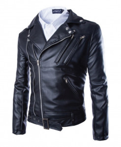 Black Faux Leather Biker Jacket For Men MB22 SLL-11