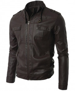 Choco Brown Faux Leather Jacket For Men T4 SLL-24
