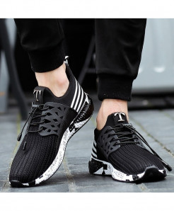 Joomra Black Running Soft Bottom Mesh Shoes