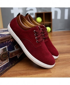 Wine Red Breathable Suede Canvas Leather Shoes