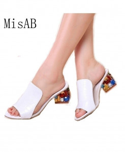 White Rhinestone High Heels Ladies Sandals