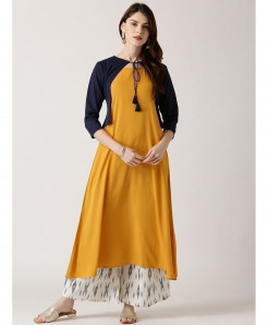 Gold Yellow Cotty Frock Style Ladies Kurti ALK-878