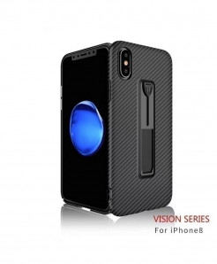 Black Carbon Fiber Ring Stand Radiating Shockproof Back Cover