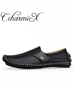 CcharmiX Black Leather Breath Slip On Loafers