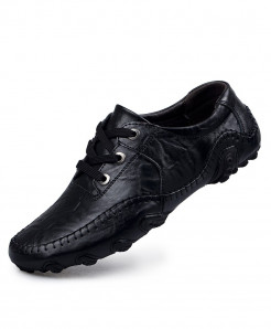 Black Breathable Split Leather Shoes